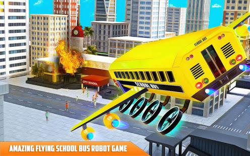 Flying School Bus Robot: Hero Robot Games 10