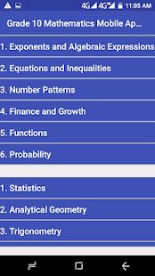 Grade 10 Mathematics Mobile Application 1.0