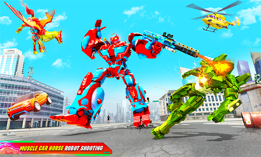 Download Flying Muscle Car Robot Transform Horse Robot Game 13 Apk for android