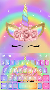 Download Rainbow Pink Rose Unicorn Keyboard Theme 1.0 Apk for android