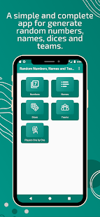 Download Random Numbers, Names and Teams for Games 1.0.24 Apk for android